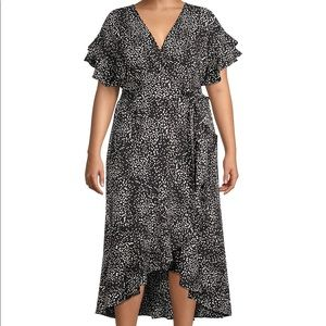 Max Studio Hi-Lo Wrap Dress 3X Ruffled